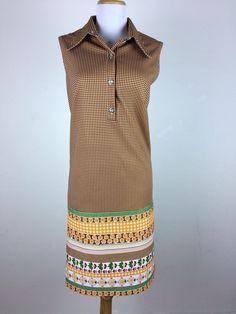 Vintage 1960s Dress Size L Polyester Mod Shift Floral Plaid Check Brown Orange #Shift