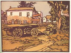 "William Seltzer Rice - was an American woodblock print artist and art educator associated with the Arts and Crafts Movement in California ~ ""Woodblock print showing Robert Louis Stevenson's house in Monterey, California"" Arts And Crafts Movement, Japanese Calligraphy, Botanical Illustration, Book Illustration, Illustrations, Art For Art Sake, Wood Engraving, Print Artist, Woodblock Print"
