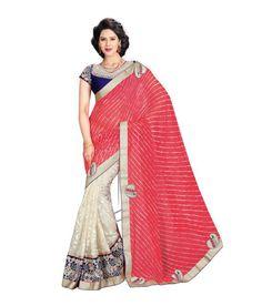 PINK AND WHITE DESIGNER #SAREE Fabric: #Rowsilk #Chiffon Code: SMR1033