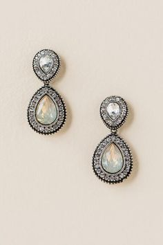 Lora Pavé Trim Teardrop Earring