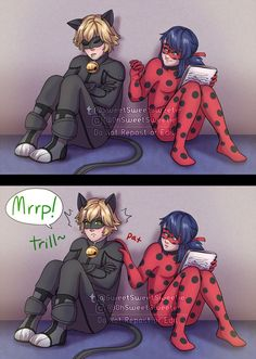 Ladybug discovers that Chat Noir makes cat activation noises during a late night Hawkmoth intel swap. So judging purely by how embarrassed Chat was when Ladybug questioned his purring during Prime. Miraculous Ladybug Wallpaper, Miraculous Ladybug Fan Art, Lady Bug, Disney Duos, Disney Decendants, Super Cat, Cat Noir, Ladybug Comics, Art Memes