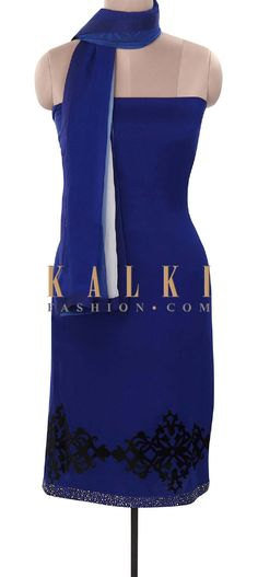 Buy Online from the link below. We ship worldwide (Free Shipping over US$100). Product SKU - 316002. Product Price - $319.00. Product Link - http://www.kalkifashion.com/navy-blue-unstitched-suit-embellished-in-applique-and-kundan-embroidery-only-on-kalki.html