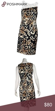 david meister dress size 8 smoke free home. no flaws to note  Product details: Black and tan animal-printed sheath dress by David Meister. Boatneck. Sleeveless. Concealed back zip closure.  Condition: Pre-owned. Very good. Est. Retail $ 498.00 David Meister Dresses