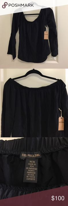 True religion black silk blouse 100% silk, size medium, brand new with tags. Off the shoulder style True Religion Tops Blouses
