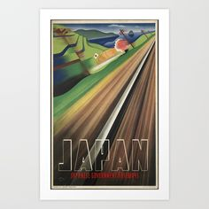 Restored and digitally enhanced vintage travel poster showing a Japanese landscape from a train window passing by. Hanging Wall Art, Metal Wall Art, Art Exhibition Posters, Japan Train, Art Nouveau Poster, Paris Wall Art, Postcard Art, Japan Art, Japan Japan