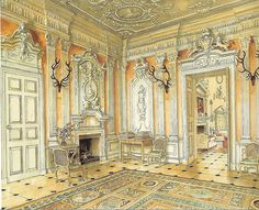 Ditchley Park - Alexandre Serebriakoff watercolor    From Nancy Lancaster-English Country House Style-Martin Wood