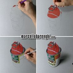 Marcello Barenghi: An empty can of beans - drawing phases