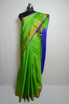 Plain style parrot green uppada silk saree with gold zari border and royal blue pallu. Please visit our website for more details and to shop this product. Green With Blue, Green Silk, Neon Green, Plain Saree, Stylish Sarees, Soft Silk Sarees, Saree Collection, Diwali, Blouse Designs