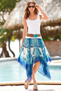 Nouveau Scarf Handkerchief Skirt  Fully lined skirt with hidden side zip, ribbon waist detail and handkerchief hem. • Polyester. • Imported. • Hand wash. • Effortless fit. • Midi. • Sizes 0-18. • Blue multi.  #skirt #summer #fashion #hankerchief #ladies