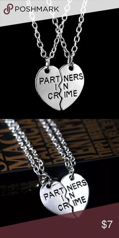 "Set of Two Partners in Crime Best Friend Necklace Cute silver plated ""Partners in crime"" set of two necklace. Silver with an adjustable clasp. Brand new in packaging. I have four available! Jewelry Necklaces"