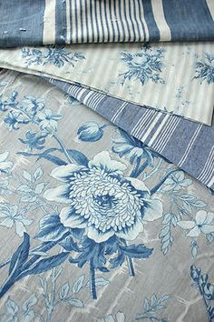 Antique French fabrics ~ blue tones! Ideal for crafts ~ lampshades, pillows etc ~