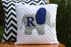 Items similar to Grey and Navy Elephant Pillow Cover with Monogram on Etsy Elephant Applique, Elephant Pillow, Elephant Nursery, Baby Elephant, Elephant Theme, Baby Boy Rooms, Baby Boy Nurseries, Grey And Navy Nursery, Baby Corner