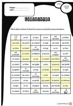 Des labyrinthes pour comprendre des mots, lire, lecture, cp, ce1, compréhension, catégorisation Core French, French Class, French Worksheets, French Grammar, French Resources, Teaching French, Daily 5, Reading Activities, French Language