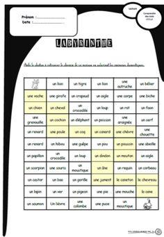 Des labyrinthes pour comprendre des mots, lire, lecture, cp, ce1, compréhension, catégorisation
