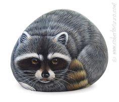 An Original Stone Painted Raccoon Rock by RobertoRizzoArt on Etsy