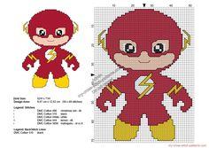 Baby Flash grilles point de croix Super-héros gratuites 50x69