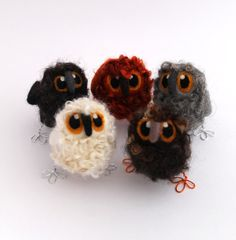 Owl Baby Needle Felted Bird Cute and Fluffy by feltmeupdesigns