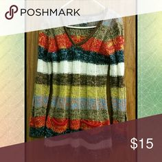 Colorful Striped Sweater This tunic sweater is super cute and soft and able to be worn in many ways. Fitting at the waist, the sweater can be worn as a standalone item or as a sweater dress for sizes 2-6. Your imagination is the limit with this one. Worn twice. Ashley Sweaters