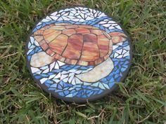 Sea Turtle Gliding Custom Stained Glass Mosaic Stepping Stone Ooak