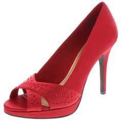 Get sizzling style in this red pump.
