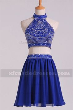 4f303a9701d Beaded Halter Chiffon Short Two Piece Homecoming Dresses GRTBZQ617 Two  Piece Homecoming Dress