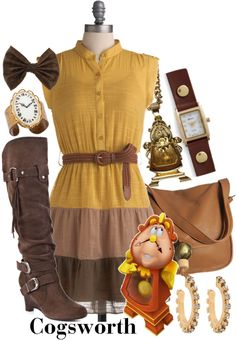 Cogsworth - Beauty & the Beast Disney Themed Outfits, Disney Inspired Fashion, Character Inspired Outfits, Disney Bound Outfits, Disney Fashion, Fandom Fashion, Geek Fashion, Cool Outfits, Casual Outfits
