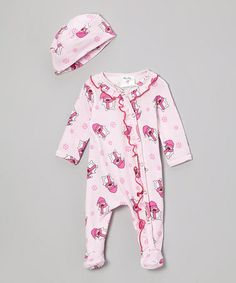 Take a look at this Pink Penguins Organic Ruffle Footie & Beanie - Infant by Mad Sky on #zulily today!