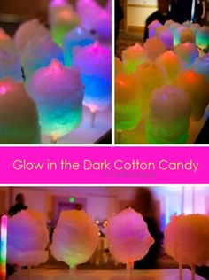 fun for night time parties! use colorful glow sticks as the sticks that whole the cotton candy!