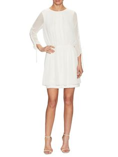 3/4 Sleeve Chiffon Dress by The Letter