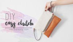 DIY Leather Clutch | Bolso fácil de hacer de lino y cuero Diy Beauté, Easy Diy, Diy Mode, Diy Handbag, Diy Clothing, Free Sewing, Leather Clutch, Pouch, Modeling