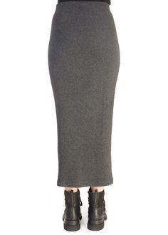 'Cras' Grey Knit Tube Skirt | Jessimara Xenia Design, Split Skirt, Tube Skirt, Black Lace Tops, Grey Wash, Fabric Design, Tunic Tops, Knitting, Skirts