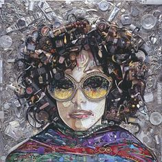 Three by Jason Mecier : Portraits from the Junk Drawer | Hotel de Ville: A Vintage Eyewear Blog Contemporary Artists, Modern Art, Parker Posey, Mosaic Portrait, Collage Making, Junk Art, Eye Art, Button Art, Recycled Art