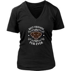 Best Friends Fur-Ever (Chocolate Labrador) - Women's Short Sleeve V-Neck T-Shirt