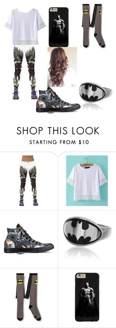 """""""BATMAN"""" by secretly-dark-lonewolf-girl ❤ liked on Polyvore featuring WithChic and Converse"""