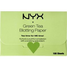 Nyx Cosmetics Green Tea Blotting Paper (£4.57) ❤ liked on Polyvore featuring beauty products, makeup, makeup tools, makeup brushes, beauty, filler, nyx and nyx makeup brushes