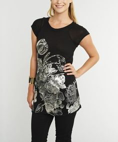 Black Sheer Flower Tunic