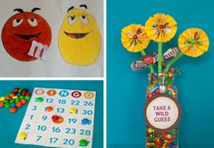 M & M bean bag (mini pkgs) toss  wrapper flowers with a guessing game