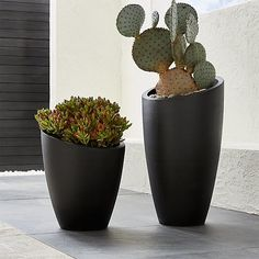 Cool Slant Design Contemporary Planters, Slant Dark Gray Planters Front  Porch Planters, Tall Planters