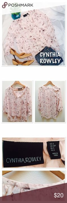 CYNTHIA ROWLEY Top ❤ Beautiful sheer blush rose top. Only worn once. 3/4 sleeve! Size S Cynthia Rowley Tops Blouses