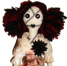 Gothic Rag Doll | OOAK Creepy Horror Gothic Handmade Folk Art Primitive Rag Dolls