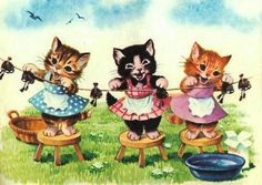 Vintage Illustration Three Little Kittens (they wash their mittens). I had a book w/ nursery rhymes.and this exact illustration.