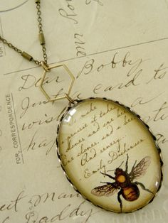 Necklace Bee and Emily Dickinson   Elegant by chloesvintagejewelry, $32.00