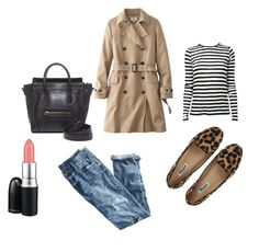 """Trench and stripes"" by alixist-1 on Polyvore featuring moda, Dune, J.Crew, Uniqlo, Proenza Schouler, CÉLINE e MAC Cosmetics"