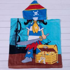 $5.99 Stylish Skull Pirate Hooded FunkyBeach Towel Blue