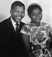 Mandela poses for an Eli Weinburg photo with Batshaka Cele, a relative of second wife Winnie Madikizela Mandela