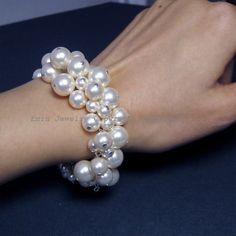Ivory Swarovski Pearl Silver Cluster Bridal Bracelet - Wedding Jewelry Bride Bracelet Bridesmaids Bracelet B16