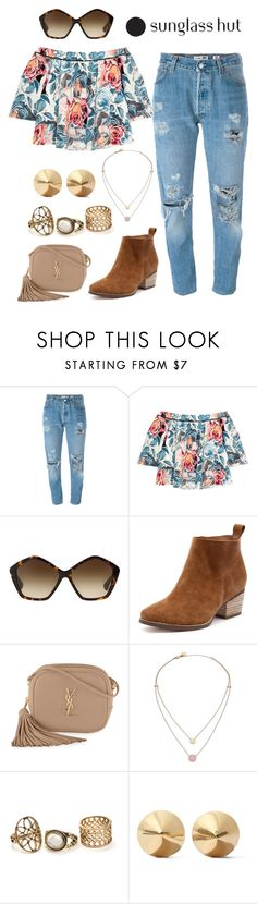 """Shades of You: Sunglass Hut Contest Entry"" by jomstyle ❤ liked on Polyvore featuring Levi's, Elizabeth and James, Miu Miu, Yves Saint Laurent, Michael Kors, Eddie Borgo and shadesofyou"