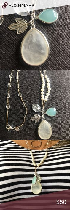 """Silpada necklace Look """"oh so pretty"""" in this beautiful 28"""" long hand crafted silpada necklace. Sterling silver, Pearl, quartzite, rock crystal all hand beaded on a silk cord. Originally debuted in the 2010-2011 catalog. Note: main stone has natural inclusions. This is/was true of all of these necklaces. The stone is NOT cracked, they are all natural and all look like this. See pic from catalog. Silpada Jewelry Necklaces"""