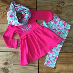 Monogram Baby Girl Clothes, Vintage Rose, Pink, 3 Pc Infinity Scarf Set, Toddler Girl Outfit, School, Girl Clothing, Childrens Clothes by MoxieGirlBoutique on Etsy https://www.etsy.com/listing/289069457/monogram-baby-girl-clothes-vintage-rose