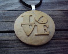 LOVE Pendant. Engraved pebbles. LOVE Necklace. stone engraved necklace. Sandblasted stones